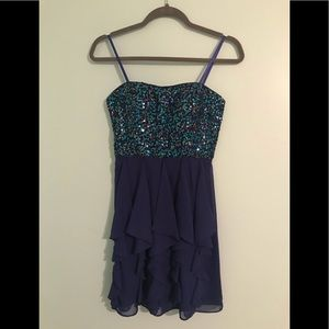 Strapless Sequined Adriana Papell Dress Size 3/4